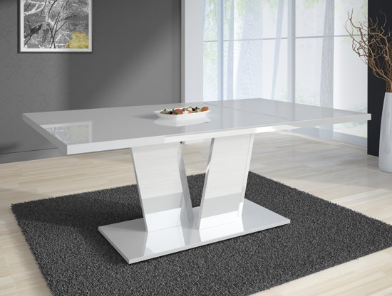 Eettafel Modern Wit.Meubella Eetkamertafel Eettafel Violin Hooglans Wit 160 Cm