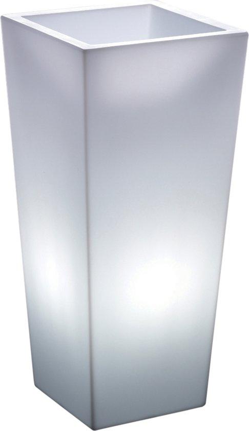 veca verlichte bloempot genesis vierkant 100 cm hoog wit licht lichtgewicht