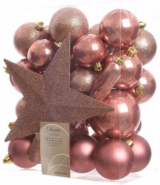 Kerstboom decoratie kerstballen set roze 33 stuks