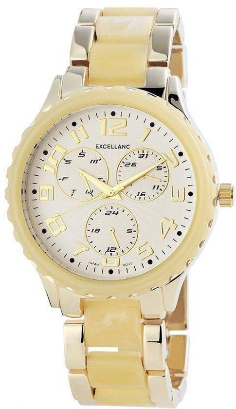 Excellanc - Horloge 43 mm - Quartz Uurwerk - Goudkleurig/Geel - Staal
