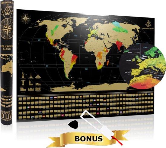 YOUR ADVENTURE Scratch Map World Deluxe - Zwart - Met 195 Vlaggen - 84 x 59.4 cm - Kras Wereldkaart Kras - Kras Poster Met Gouden Laag Om Te Krassen - Wereld Kraskaart - Kras Wereldkaarten Made in Benelux