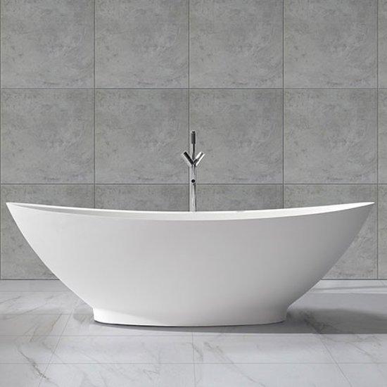 Ligbad Vrijstaand Luisa Ovaal 186x82x59cm Solid Surface Glans Wit met Overloop