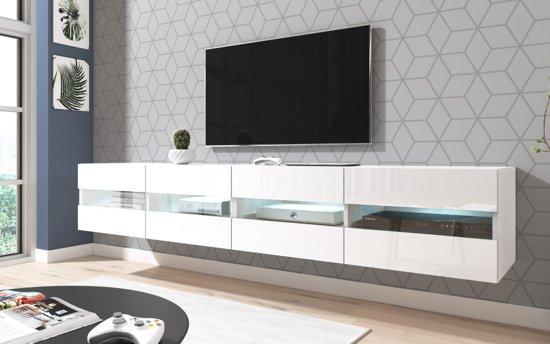 Tv Meubel Led.Tv Meubel Zwevend Wit 200 Cm Inclusief Led Verlichting Modern