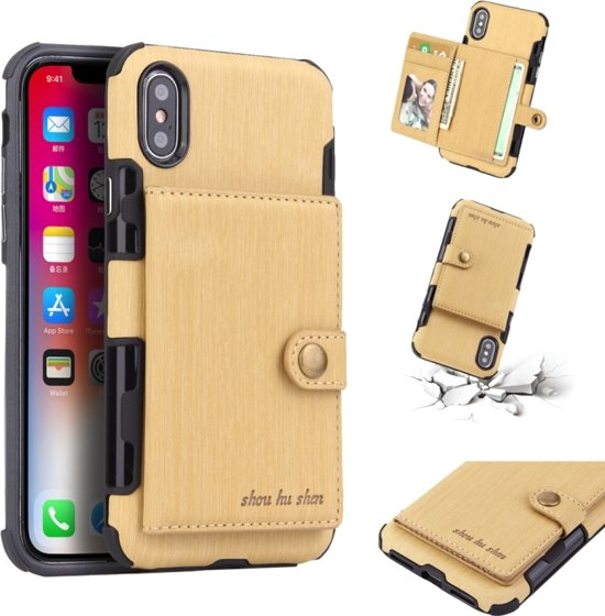 Let op type!! For iPhone XS Max Brushed Texture Shockproof PU + TPU Case  with Card Slots & Wallet & Photo Frame(Gold)
