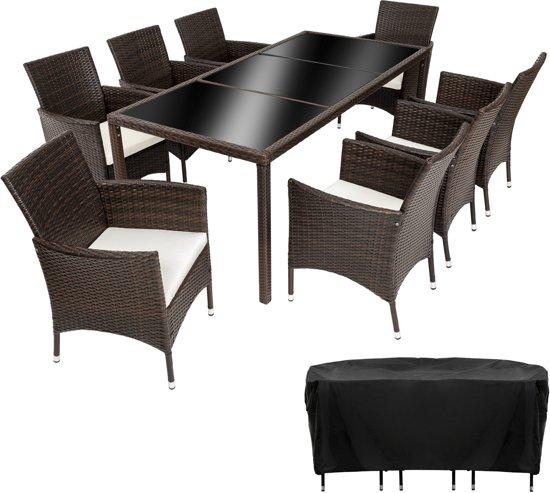 TecTake Wicker tuinset Valencia- stoelen en tafel 8 + 1 - mixed bruin - 402040