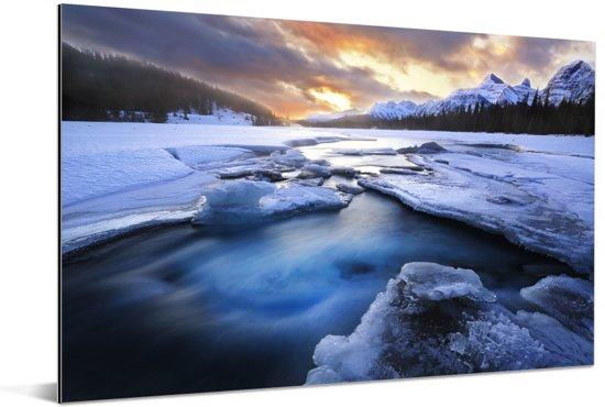 Zonsopkomst bij het het Jasper nationaal park in Canada Aluminium 60x40 cm - Foto print op Aluminium (metaal wanddecoratie)