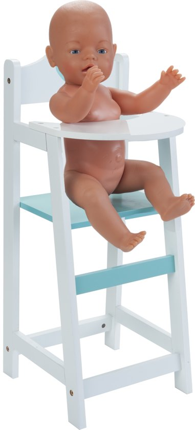 WOODEN DOLLS CHAIR WHITE//GREEN - 26,5 x 21,5 x 53 CM