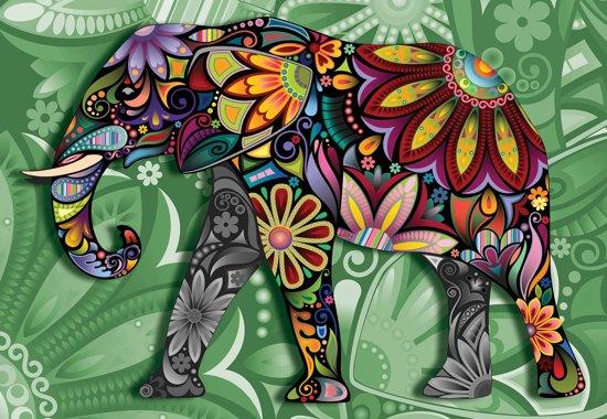 Fotobehang Elephant Flowers Abstract Colours | PANORAMIC - 250cm x 104cm | 130g/m2 Vlies