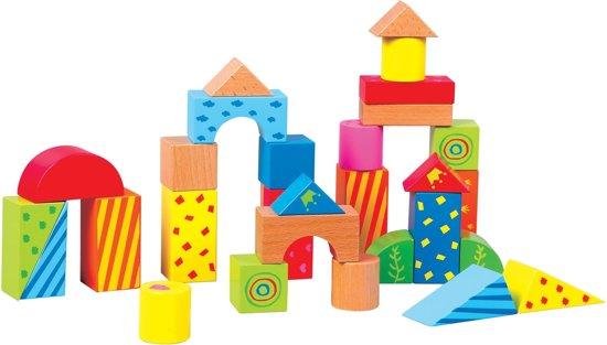 Lelin Toys - Duw en Loopwagen met 30 Gekleurde Blokken