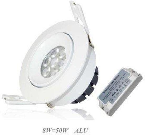 LED Spots 8 Watt  8 LEDs 490 Lumen Warm Wit | Ronde Witte Behuizing