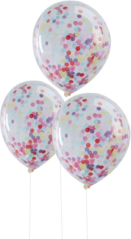 Ginger Ray Pick & Mix - Ballon gevuld met multicolor confetti Ø 28 cm - Set-5 Valentinaa