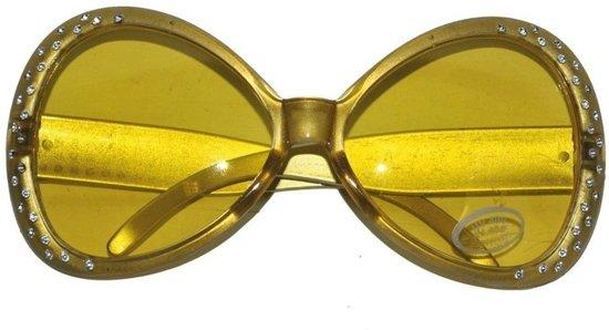 Gouden disco bril met diamantjes