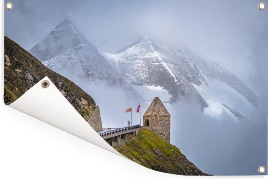 Bergen achter de Grossglockner Hoge Alpenweg in Europa Tuinposter 120x80 cm - Tuindoek / Buitencanvas / Schilderijen voor buiten (tuin decoratie)