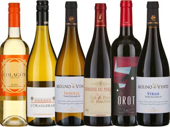 """Wijnkoperij Okhuysen Proefdoos """"on-alledaags lekker"""": wit en rood - 12 flessen Valentinaa"""