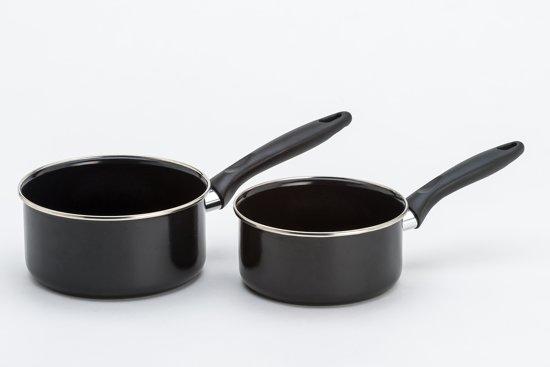 Steelpan cool zwart, 2- delige set 16 en 18 cm emaille – Lite-Body