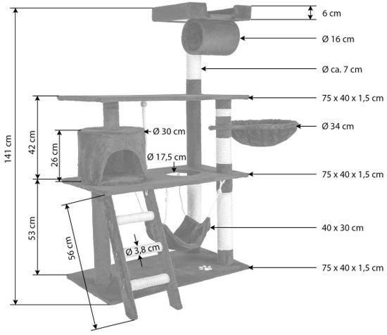 Tectake Krabpaal - 107 x 60 x141 cm - Grijs