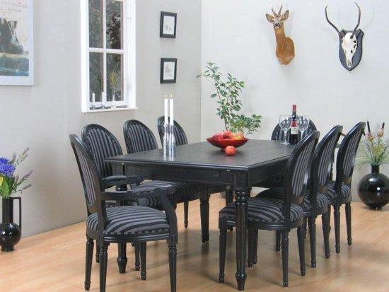 bol.com  Mozart zwarte eettafel met 6 zwarte stoelen Rococo