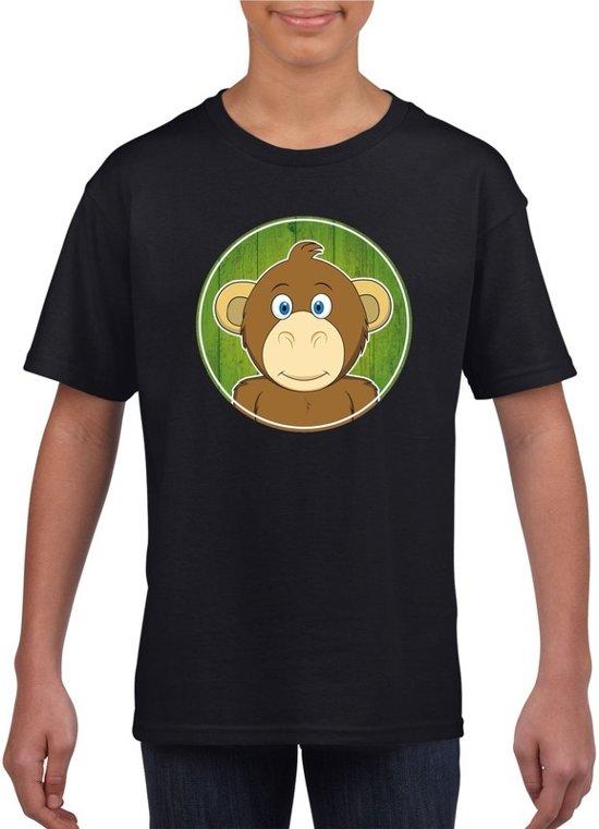 Kinder t-shirt zwart met vrolijke aap print - apen shirt M (134-140)