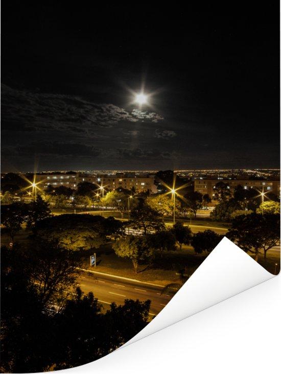 Volle maan bij de beroemde stad Brasilia in Brazilië Poster 60x80 cm - Foto print op Poster (wanddecoratie woonkamer / slaapkamer)