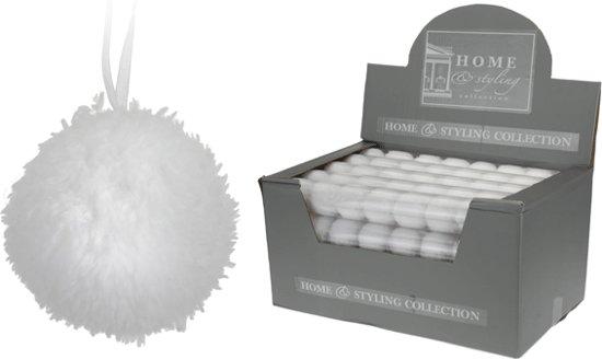 Witte kerstballen met bontlaagje 10 stuks