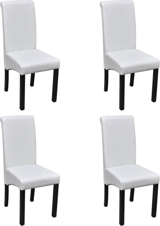 Witte Kunstleer Stoelen.Vidaxl Eetkamerstoelen Kunstleer Wit Set Van 4