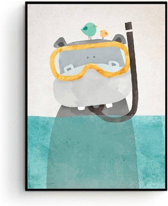 Postercity - Design Canvas Poster Nijlpaard Duiker / Kinderkamer / Muurdecoratie / 40 x 30cm / A3