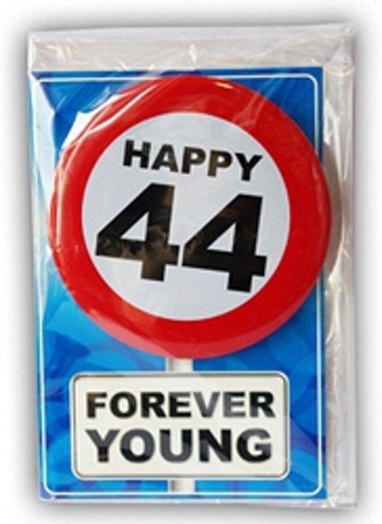 44 jaar bol.  Happy Birthday kaart met button 44 jaar, Merkloos  44 jaar