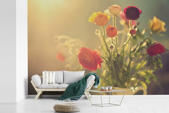 Fotobehang vinyl - Boeket van kleurrijke boterbloemen breedte 330 cm x hoogte 220 cm - Foto print op behang (in 7 formaten beschikbaar)