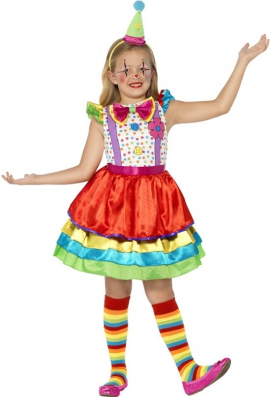 Kleurrijk clowns jurkje voor meisjes 145-158 (10-12 jaar)