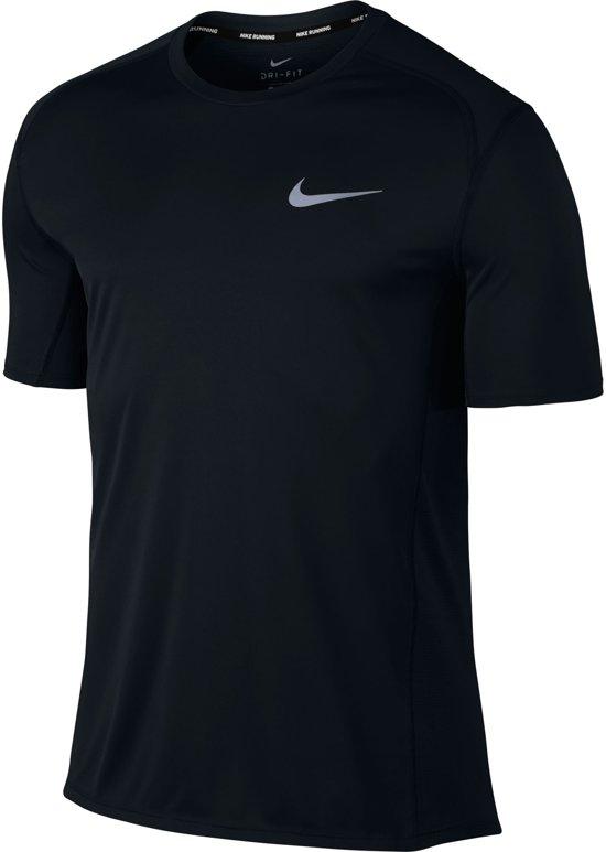 Nike Dry Miler Top SS Sportshirt Heren - Black/Black/(Reflective Silv)