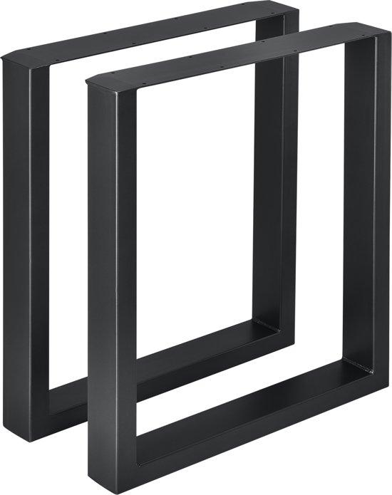 Meubelpoot tafelpoot 2 stuks set staal 60x72cm zwart
