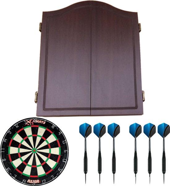 Dragon darts - houten dart kabinet - starterpack - inclusief dartbord en dartpijlen - dark brown