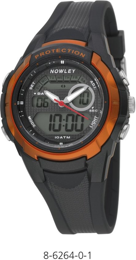 Nowley 8-6264-0-1 analoog/ digitaal horloge 40 mm 100 meter zwart/ oranje