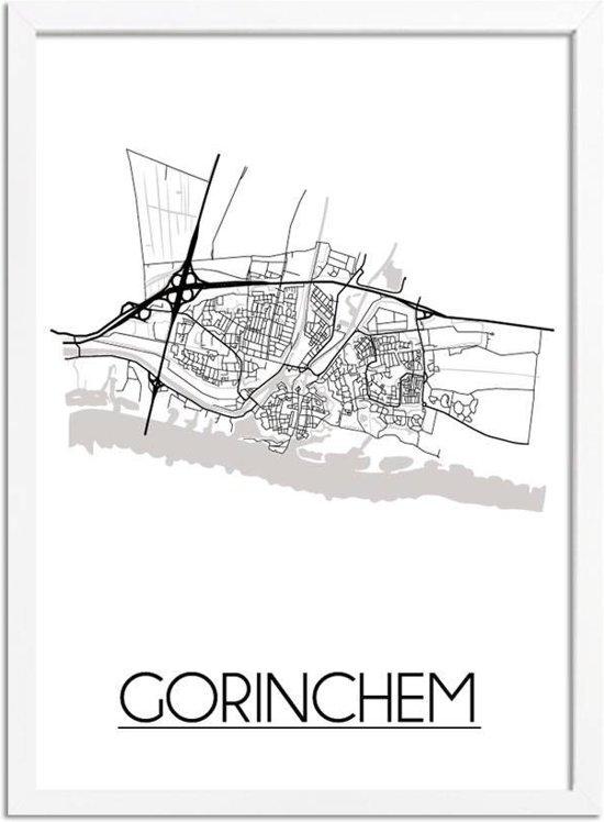 DesignClaud Gorinchem Plattegrond poster A3 + Fotolijst wit