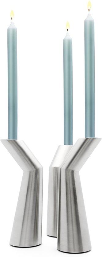 Zilverstad Oblique kandelaar set van 3