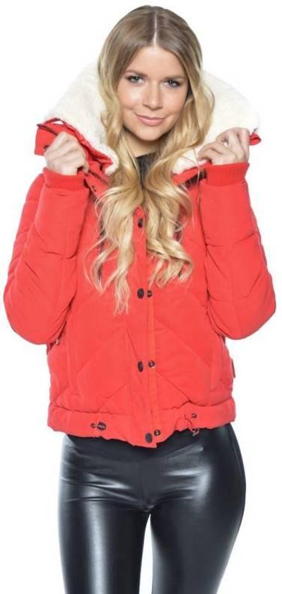 Warme Trendy Winterjas.Bol Com Marikoo Navahoo Rode Dames Kort Winterjas Met Trendy