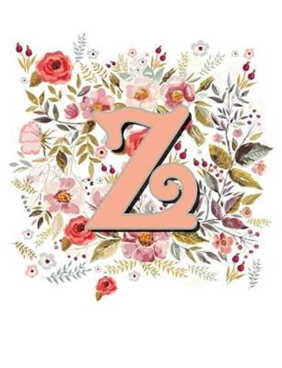 Z Monogram Letter Floral Wreath Notebook