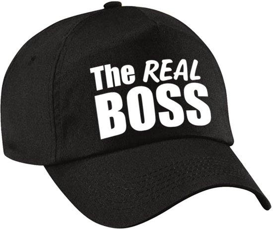 The real boss pet / cap zwart met witte letters voor dames - verkleedpet / feestpet