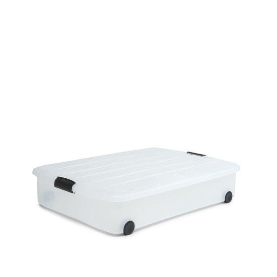 IRIS Rollerbox onder-het-bed met half-te-openen deksel en wieltjes - 50L - Kunststof - Transparant/zwart