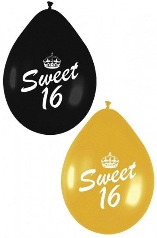 12x sweet sixteen themafeest ballonnen zwart for Feestversiering goud