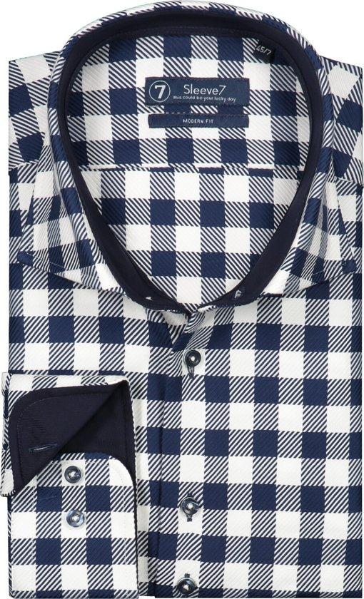 Sleeve7 Heren Overhemd Navy Witte Ruit Streep Heavy Twill Modern Fit - 45