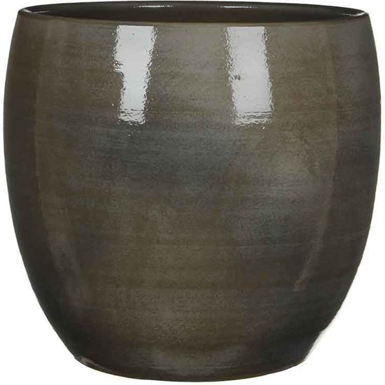Mica Decorations - lester ronde pot donkergrijs - maat in cm: 31 x 33