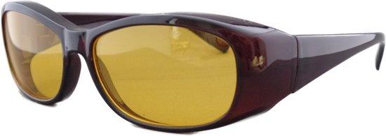 Overzet nachtbril shield bruin (M)
