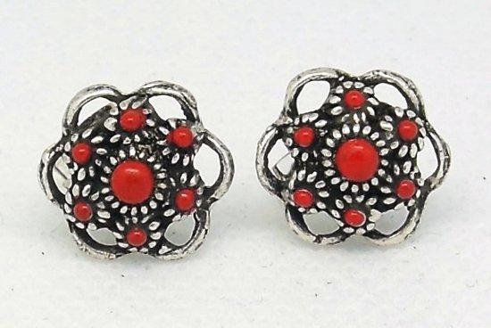 Zeeuwse knopjes oorstekers met rode emaille ZKO 714-r