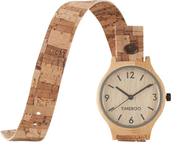 TiMEBOO bamboe horloge Dames KURK Double blok