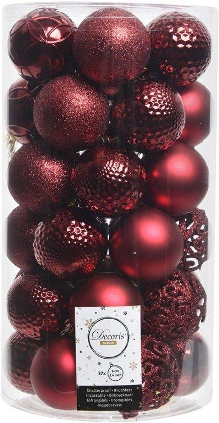 Bol Com Donker Rode Kerstversiering Kerstballen Set Kunststof 6 Cm