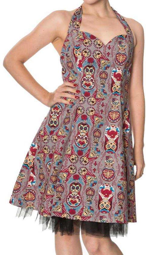 Banned Korte jurk -L- DYNASTY Grijs/Multicolours