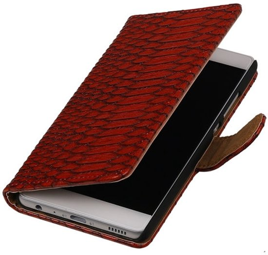 BestCases.nl Huawei Ascend G7 Slang booktype cover Rood in Nachtegaal
