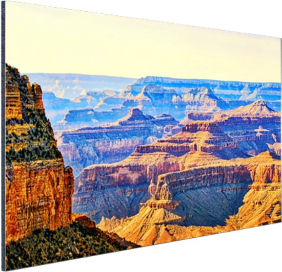 Uitizicht over Grand Canyon Aluminium 90x60 cm - Foto print op Aluminium (metaal wanddecoratie)
