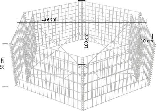 vidaXL Schanskorf plantenbak zeshoekig 160x139x50 cm